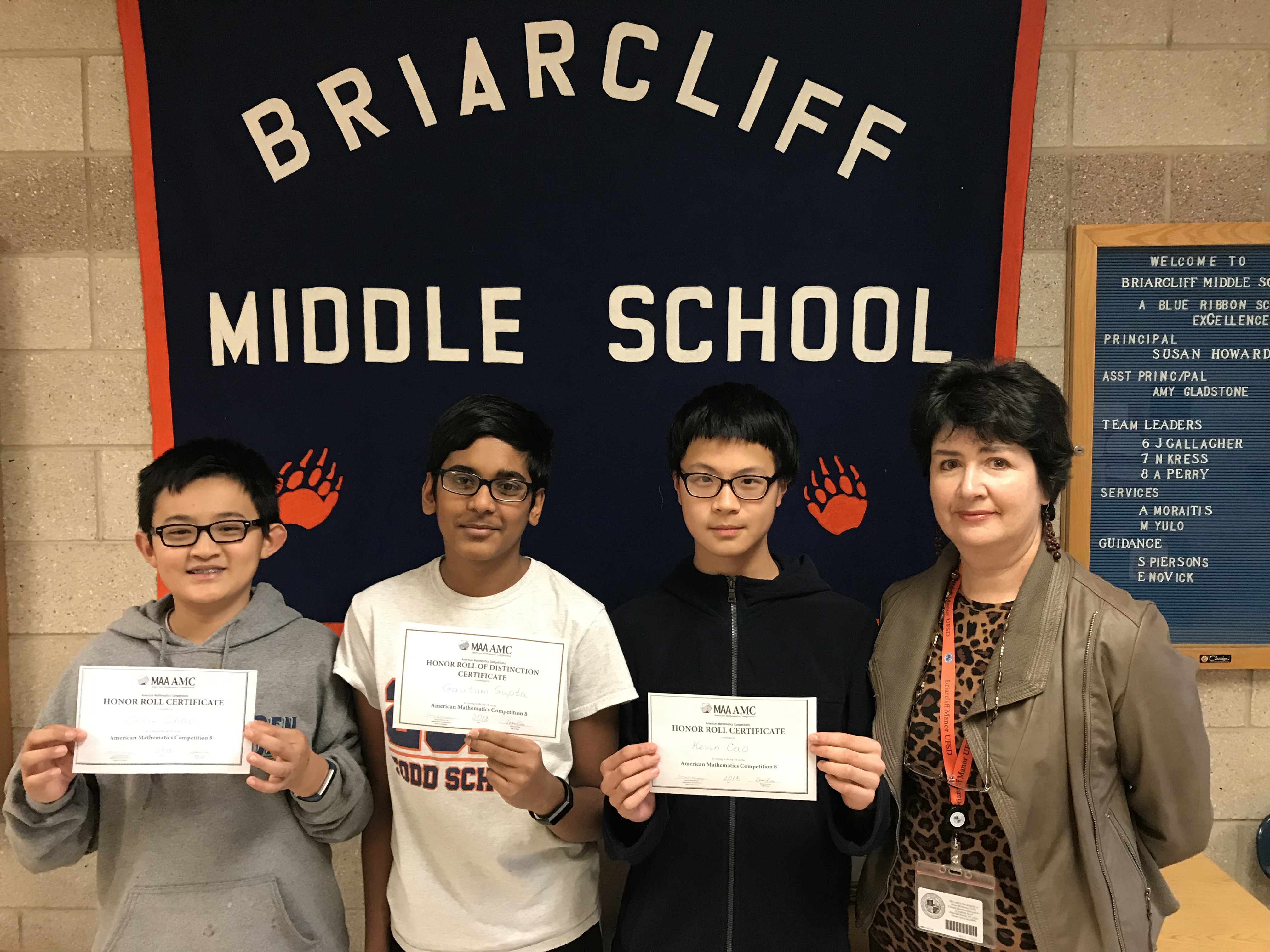 Three BMS Students Earn High Marks on AMC 8